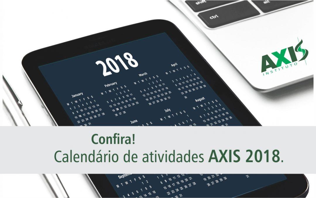 Calendário 2018: nossa agenda de atividades
